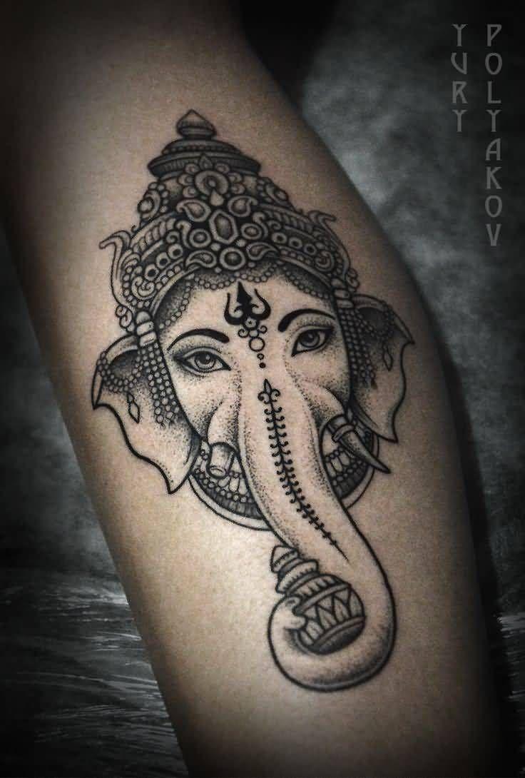 Grey Ink Ganesha Head Tattoo by Yury Polyakov