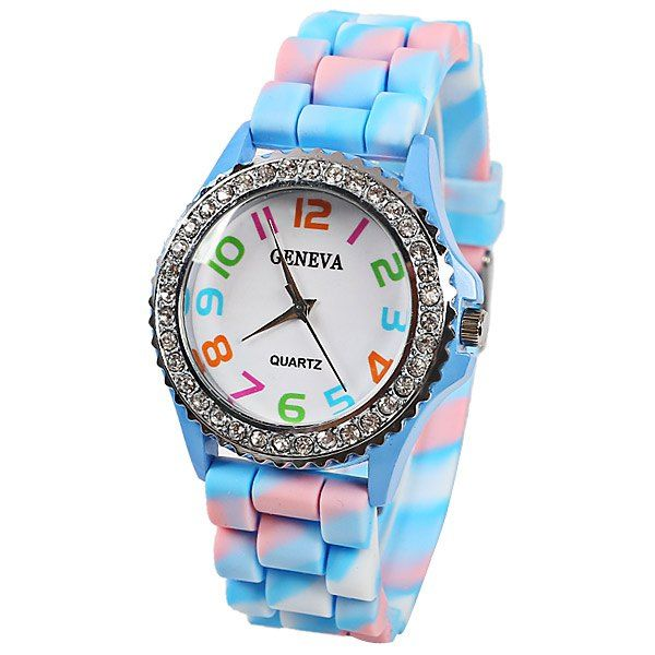 Geneva Quartz Watch 12 Arabic Number Indicate Rubber Watch Band for Women - Azure #CLICK! #clothing, #shoes, #jewelry, #women, #men, #hats, #watches