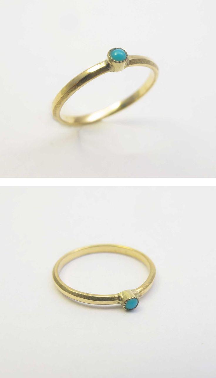 Ring 18 K Yellow Gold, turkois