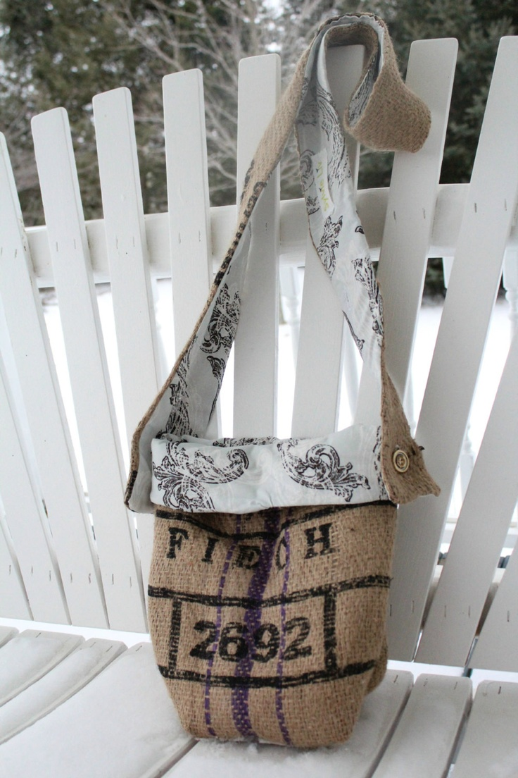 Burlap coffee bag crafts - Burlap Purse With Adjustable Strap Fold Over Blue And Brown Lining Coffee Bag With Purple Stripe
