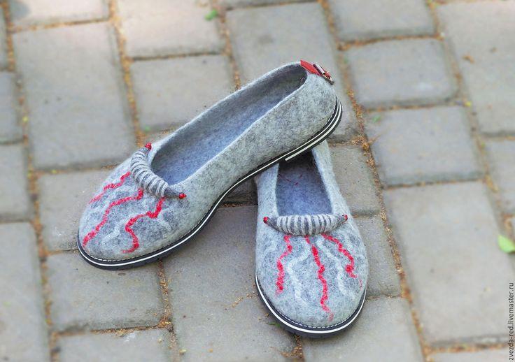 """Купить туфельки валяные """" Серый асфальт"""" - туфельки, туфли ручной работы, Валяние"""