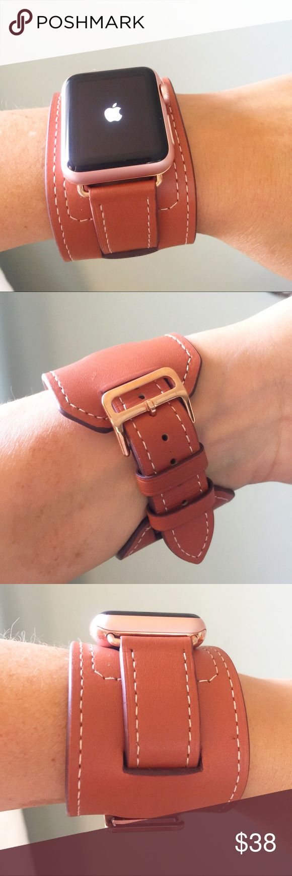 ROSE GOLD Brown Apple Watch Band cuff! 38mm, 42mm Brown Apple Watch band with rose gold hardware.  Cuff, genuine leather.  It comes in 38mm and 42mm. Please select your size when you purchase. The adapters also fit the Apple Watch Sport.   I also have other band colors, hardware colors and styles in my closet. Check them out!   I offer 15% off if you buy two or more! only the band is for sale; it does not include the watch. Other