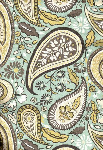 Boho Paisley Fabric, Rain