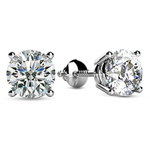 1 Carat Total Weight White Round Diamond Solitaire Stud Earrings Pair set in 14K White Gold 4 Prong Screw Back (H-I Color I1 Clarity)