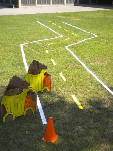 construction theme birthday party - bulldozer races