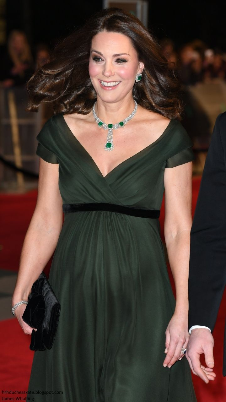 hrhduchesskate: BAFTAs 2018, February 18, 2018-The Duchess of Cambridge wore a Jenny Packham deep olive green dress with black bag and stole and accessorized with her diamond and emerald earrings and necklace