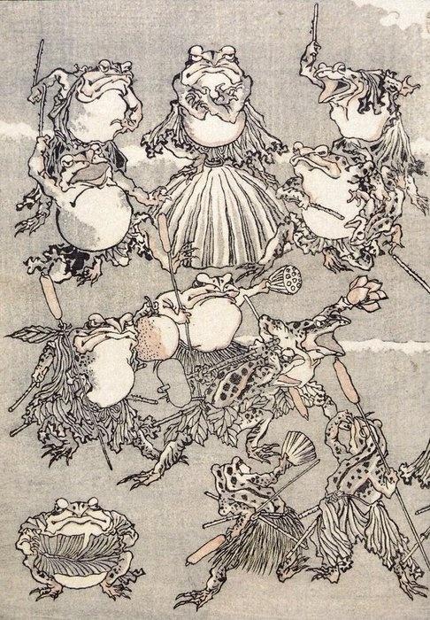 """Kawanabe Kyōsai (河鍋 暁斎), 1831-1889. """"Frog samurai"""""""