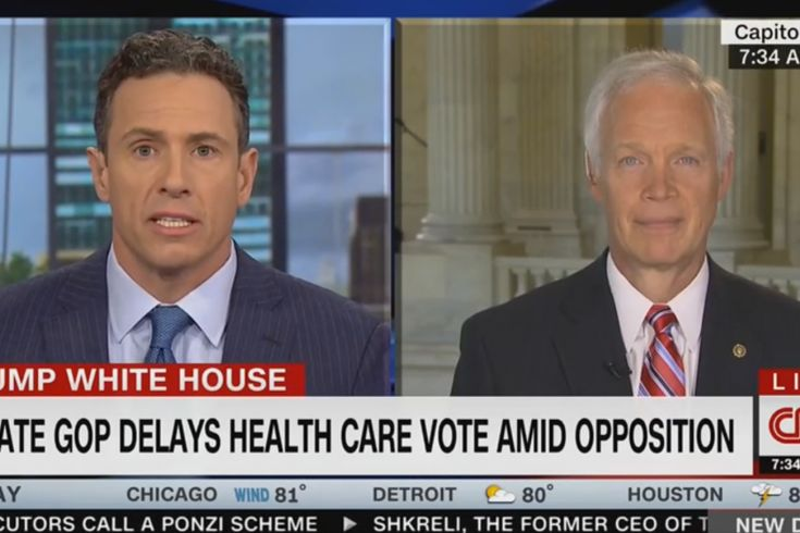 CNN's Chris Cuomo has had just about enough of Republicans crying 'fake news,' and he let GOP Sen. Ron Johnson (Wis.) know it during an interview Wednesday morning. The confrontation was sparked by Johnson claiming that the debate over Senate Republicans' plan to repeal and replace ObamaCare is 'completely distorted using incorrect information.' Cuomo, who had been discussing the nonpartisan Congressional Budget Office's recently released cost estimate of the S...