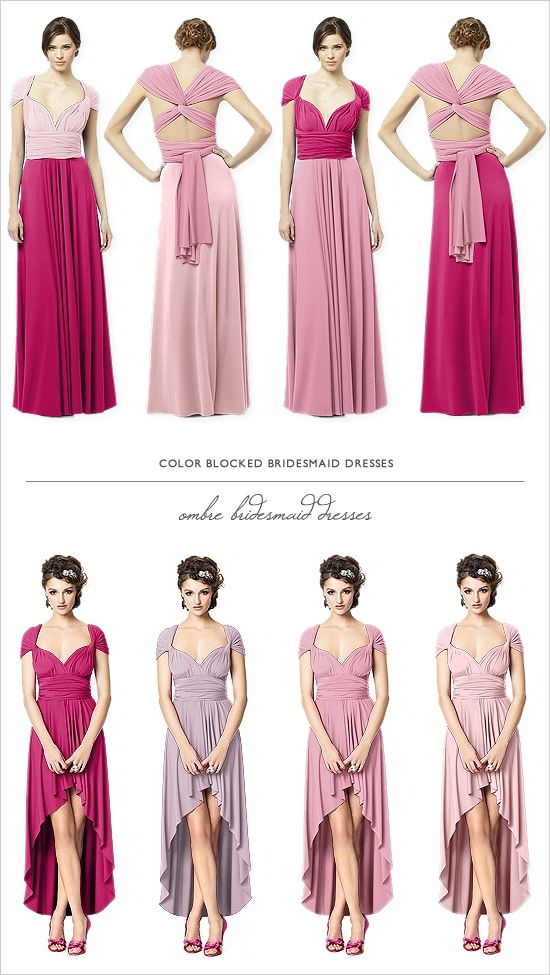ombre bridesmaid dresses in the twist wrap dress by dessy.com