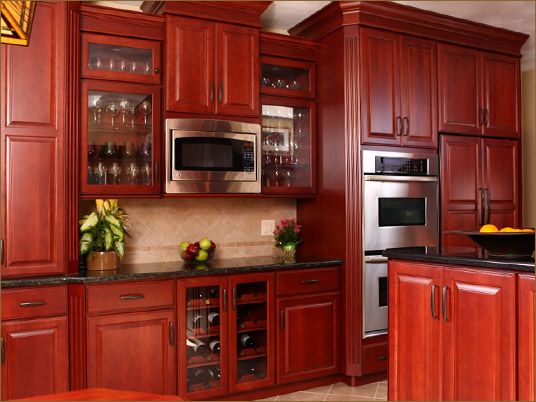 Cherry Wood Kitchen With Silver Appliances  Almost Exactly What I Want! Part 49