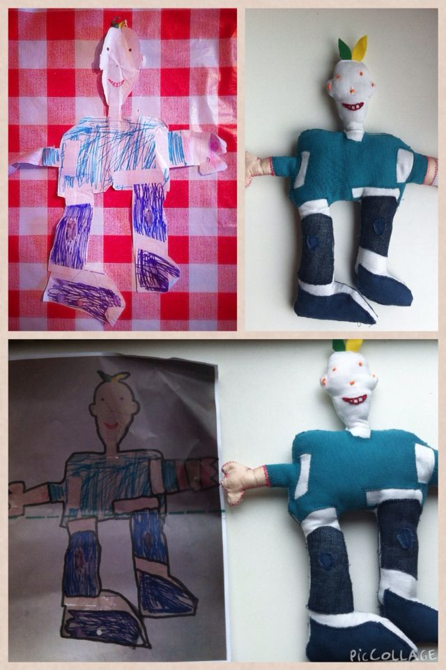Kees: turned kids drawing into  stuffed doll
