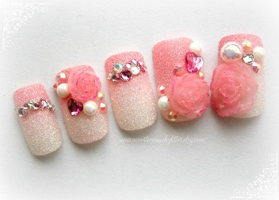 Kawaii Hime Gyaru Nail Art First Blush Of Love Anese Fake Nails For Cosplay Princess