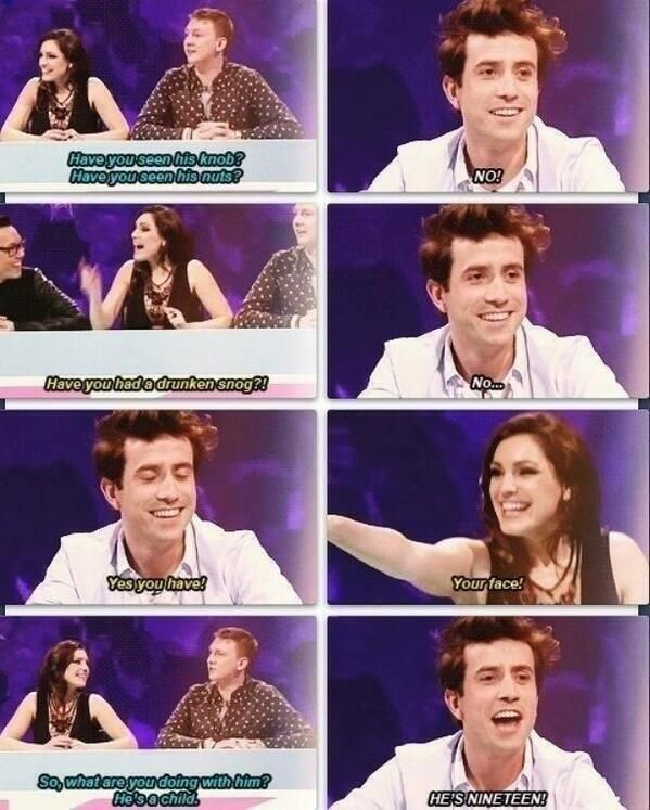 but... um..... i don't even know what to say (Nick Grimshaw talking about Harry on Celebrity Juice)