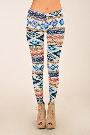 Good Girl Aztec Legging - Blue