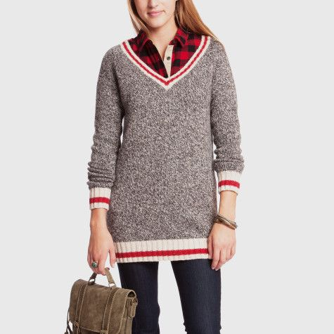 Cabin Sock Deep V Tunic Womens Tops Sweaters and Cardigans Roots S...