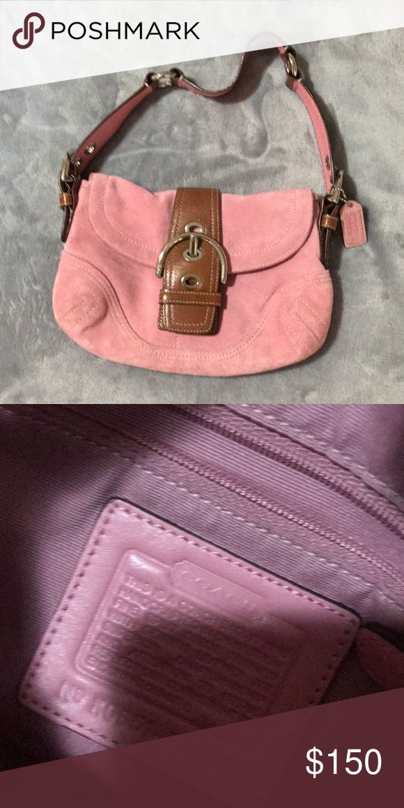 Pink coach purse suede Cute coach purse Coach Bags Baby Bags