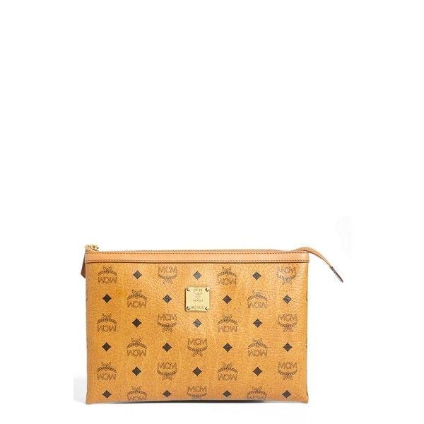 Women's Mcm 'Medium Heritage' Top Zip Pouch ($330) ❤ liked on Polyvore featuring bags, handbags, mcm, cognac, mcm purse, cognac purses, coated canvas handbag and cognac handbag