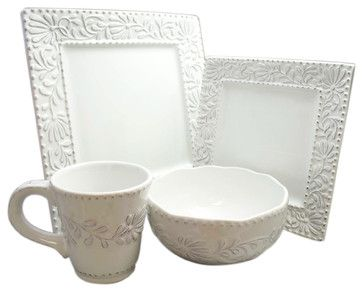 Bianca Leaf Square 16 Piece Dinnerware Set - traditional - dinnerware - by Jay Import