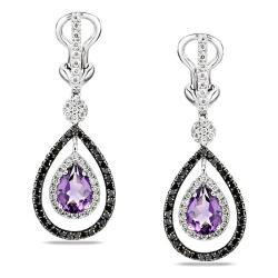 @Overstock - These fantastic earrings are created with pear-cut violet amethyst stones and round-cut black and white diamonds in 14k white gold. $1,004.99: Diamonds Earrings, Violets Amethysts, Fantastic Earrings, Purple Amethysts, Black Whit Diamonds, White Diamonds, Dangle Earrings, Earrings G H, Amethysts Stones