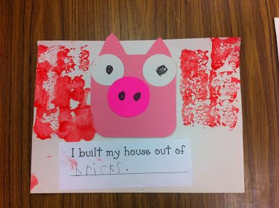 "We read different versions of The Three Little Pigs and compared the story elements. Then we did this craftivity. They got to pick what material (straw, wood, bricks) they would build their house out of. I used straw, mini craft sticks, and sponges dipped in red paint. Then they finished the sentence prompt, ""I built my house out of ..."""