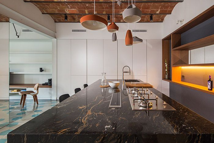 Amazing kitchen design idea in a stunning apartment in Barcelona - House of Mirrors by Nook Architects