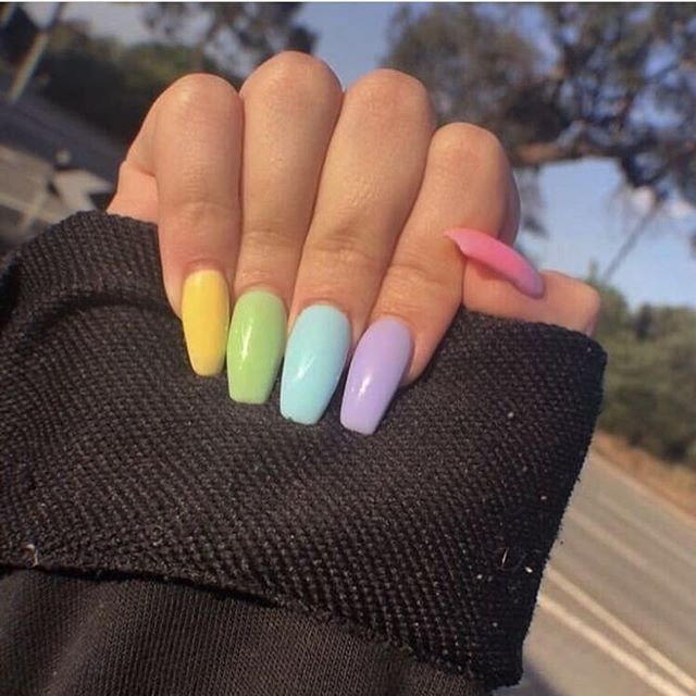 Image Result For Vsco Multi Color Acrylic Nails Ombre Acrylic Nails Fake Nails Cute Gel Nails
