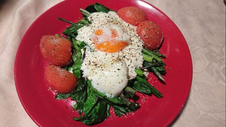 紅菜苔(こうさいたい)を使った前菜〰️😋〰️マヨネーズとヨーグルトのミックスソースかけ〰️😋〰️温玉載せてトマトを添えました〰️👋