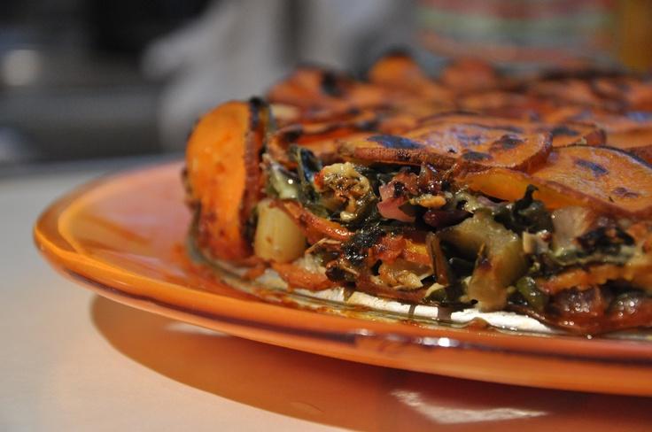 Sweet Potato, Chard, and Blue Cheese Tart