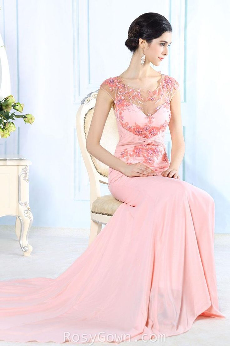 illusion #pink cap sleeve floral #sweetheart shape long formal #dress