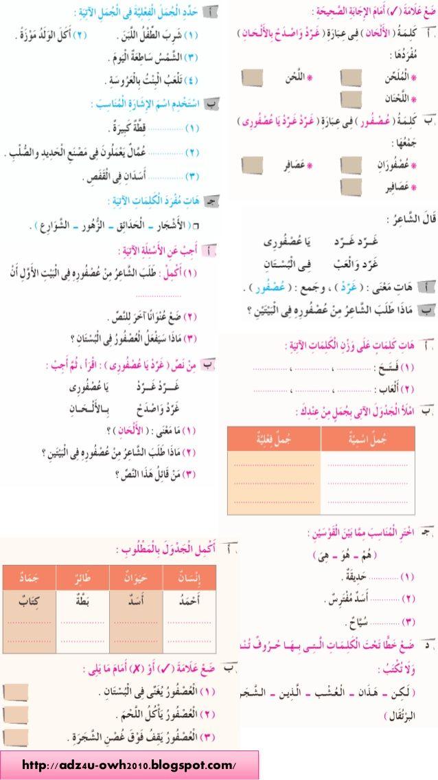 تدريبات اللغة العربية لكتاب سلاح التلميذ الصف الثانى الابتدائى الترم