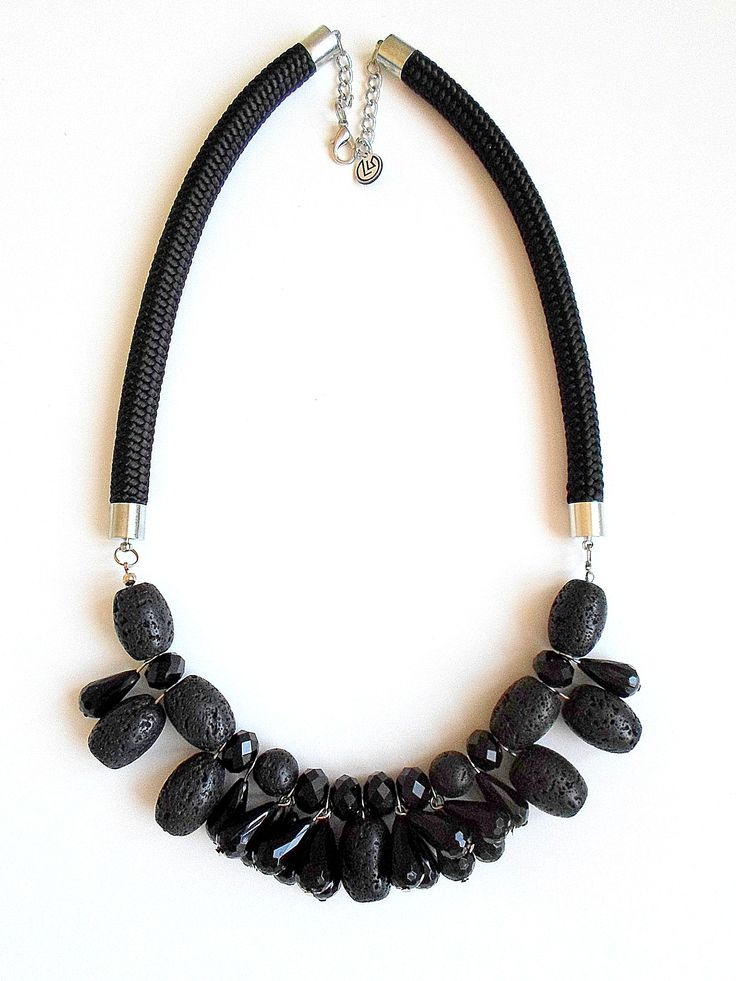 Black statement necklace with lava rocks #black #statement #lavarock #necklace