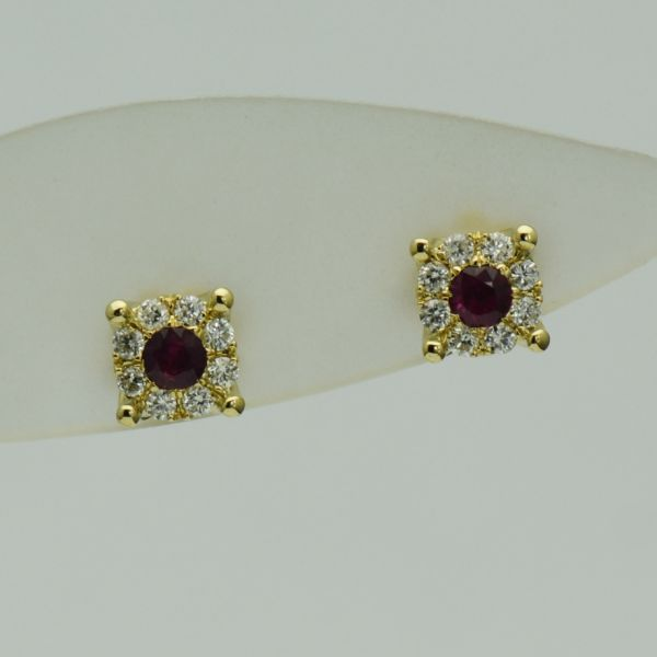 Cercei de aur galben 18k cu rubine si diamante