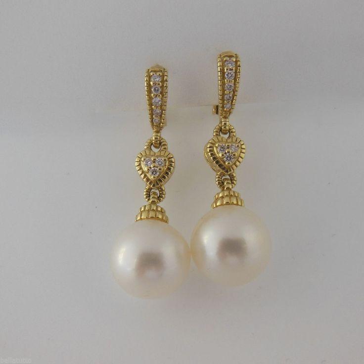 Judith Ripka 18k Yellow Gold 15tcw 11mm Pearl Diamond Drop Earrings Judithripka