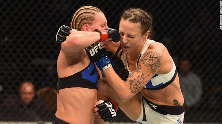 Justine Kish, left, punches Nina Ansaroff during a UFC bout in Las Vegas on Saturday, January 2. Kish won the fight by unanimous decision.