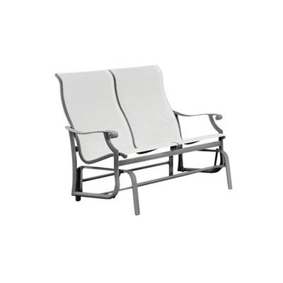 Tropitone Montreux Sling Double Glider Chair Finish: Woodland, Fabric: Sparkling Water