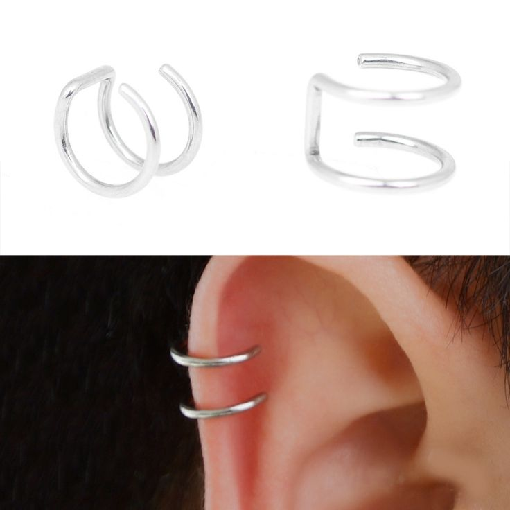 5pcs/Set  New Design Silver Plated Ear CUFF Helix Cartilage Ring Fake Piercing Clip On Earrings for Women Small Accessories Jewe