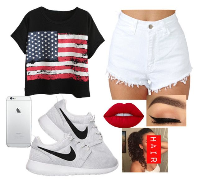 """""""Happy Fourth of July!!😜🇺🇸"""" by bosslanaia ❤ liked on Polyvore featuring Chicnova Fashion, NIKE and Lime Crime"""