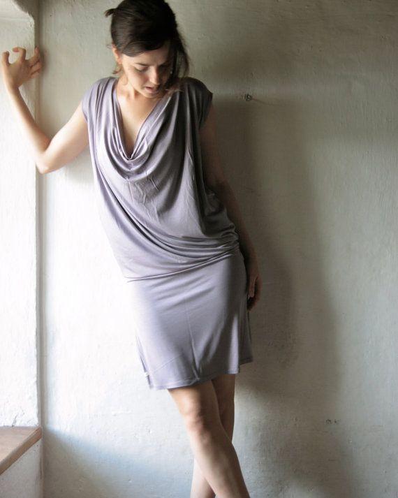 Lavender draped mini dress  jersey tunic grecian by larimeloom, €68.00