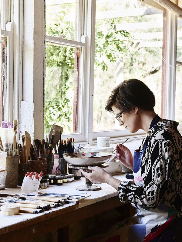 Ruby at work in her studio. Photo – Eve Wilson for The Design Files.
