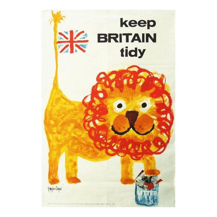 "Rare 1960s ""Keep Britain Tidy"" Lion Poster Folk Art Illustration"