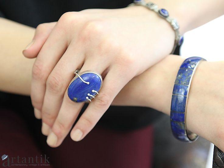 Inel statement - argint & lapis lazuli - India