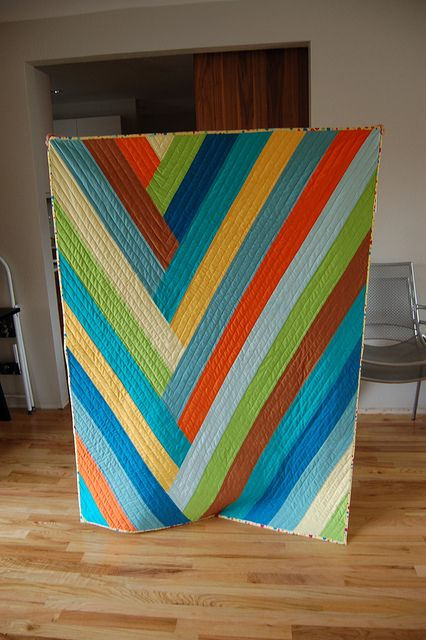 quilt by Anne  Tutorial for this unusual and lovely quilt is at:  http://anneandwill.com/2013/04/braided-stripe-quilt-how-to
