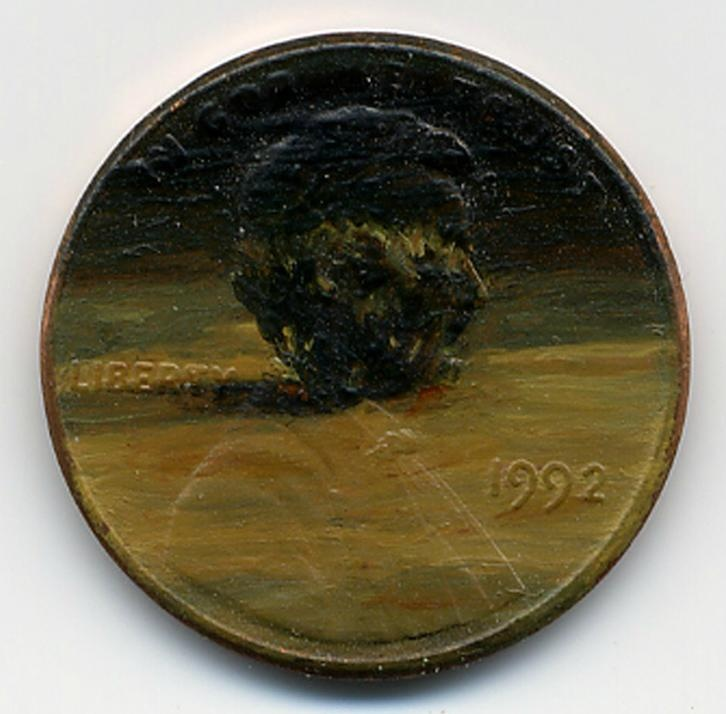 The Unburning Bush, 1992 oil on penny    http://jacquelinelouskaggs.com/section/192725_Tondi_observations.html