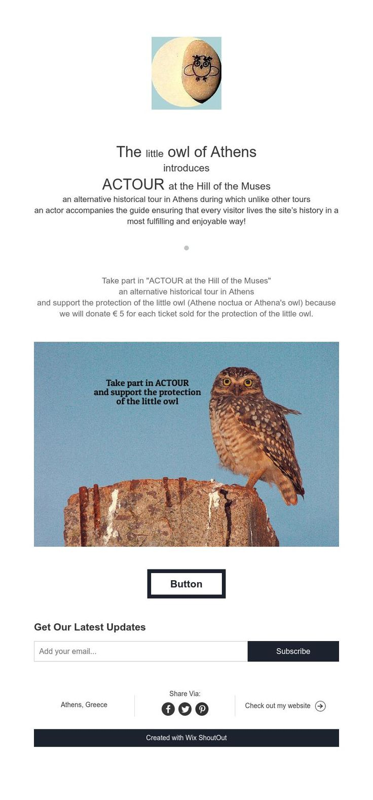 The little owl of Athens  introduces  ACTOUR at the Hill of the Muses  an alternative historical tour in Athens during which unlike other tours  an actor accompanies the guide ensuring that every visitor lives the site's history in a most fulfilling and enjoyable way!