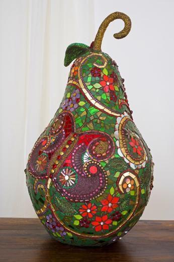 Kaplan Pear by Sharra FrankMosaics Art, Pears Shape, Mosaics Sculpture, Mosaics Pears, Pears Art, Mosaics Gourds, Mosaics Fruit, Mosaic Art, Art Mosaics