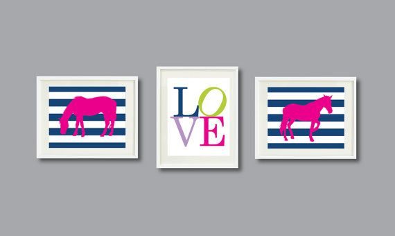 Horse Love Set of Three Art Prints for by GatheredNestDesigns