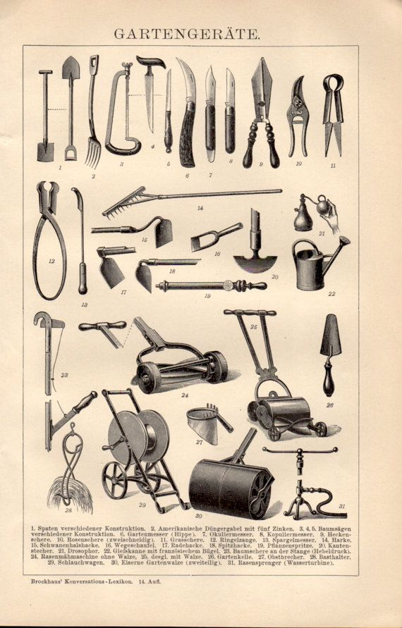 1898 Garden Tools Antique Print Vintage Lithograph by Craftissimo, €14.95