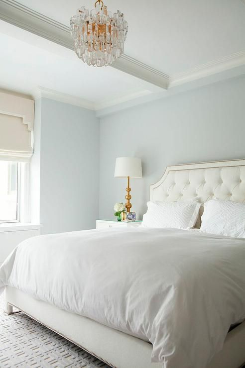 White Tufted Headboard with Nailhead Trim, Transitional, Bedroom