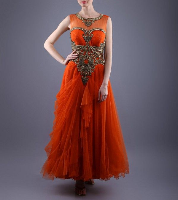 Orange Embroidered Net Dress  http://www.shadesandyou.com/product/orange-embroidered-net-dress/  #LehengaCholi #BridalLehengas #DesignerLehengas