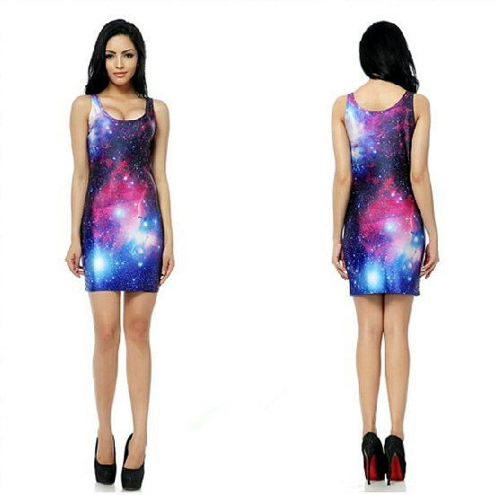 New Style 2014 Sexy Lady Bodycon Tank Dress Purple GalaxyElastic Bandage Low-cut Short One-piece Hip Package Free Shipping #361 $18.78